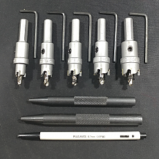 초경홀커터 규격 12 14 16 18 20mm와 센터펀치 2종